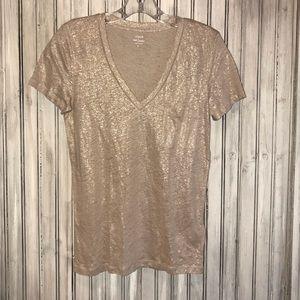 J Crew Linen Gold V-Neck T-Shirt